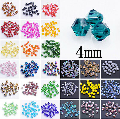 100pcs Faceted Glass Crystal Bicone Loose Spacer Beads 4mm 56Colors For Pick