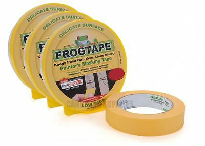 3 x FROG TAPE PAINTERS MASKING TAPE DELICATE SURFACE LOW TACK YELLOW 24MM x 41M