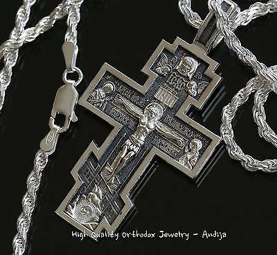 Mens Russian Orthodox Necklace Prayer Crucifix+Rope Chain. Silver 925. SALE !!!