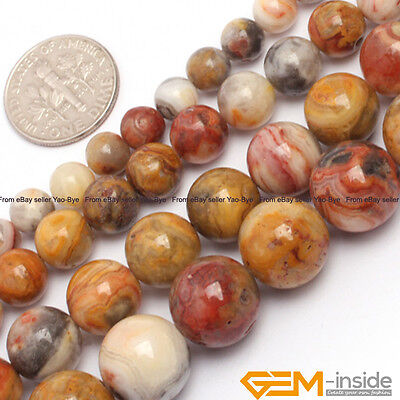 "Natural Stone Crazy Lace Agate Onyx Round Beads For Jewelry Making 15"" 6mm-16mm"