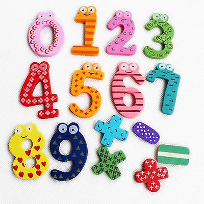 Best Gift Set 10 Number Wooden Fridge Magnet Education Learn Cute Kid Baby Toy