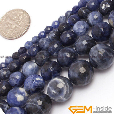 """Natural Blue Sodalite Jasper Gemstone Faceted Round Beads For Jewelry Making 15"""""""