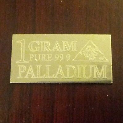 PD Precious Metal ( 1 ) GRAM ACB PALLADIUM SOLID BULLION MINTED BAR 99.9 FINE ,$