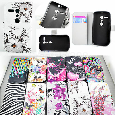 Stand Book Style Flip Wallet Leather Skin Cover Case For Motorola Moto G 1st Gen