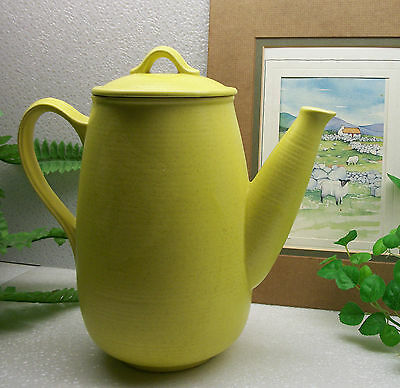 Vintage Royal China Stone Speckled LIME GREEN Stoneware Coffee Pot  U.S.A.