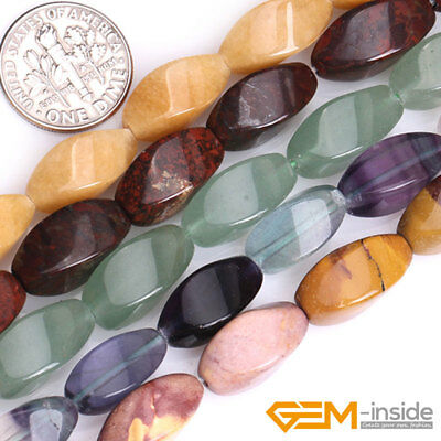 """Wholesale 8x16mm Natural Assorted Stones Twist Beads For Jewelry Making 15"""" YB"""