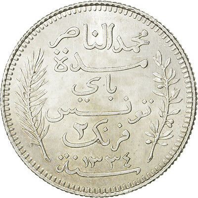 [#81423] TUNISIA, 2 Francs, 1916, Paris, KM #239, MS(60-62), Silver, 10.01