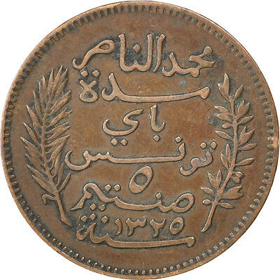 [#81411] TUNISIA, 5 Centimes, 1907, Paris, KM #235, EF(40-45), Bronze, 26, 4.99