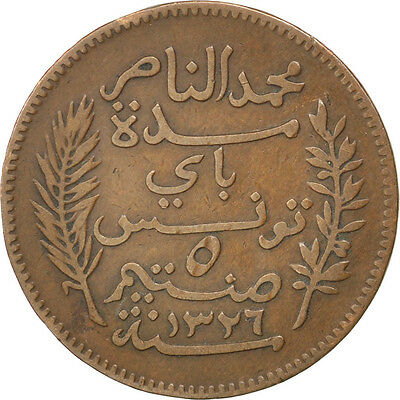 [#81412] TUNISIA, 5 Centimes, 1908, Paris, KM #235, EF(40-45), Bronze, 26, 4.89