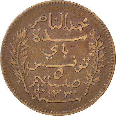 [#81413] TUNISIA, 5 Centimes, 1912, Paris, KM #235, EF(40-45), Bronze, 26, 4.89