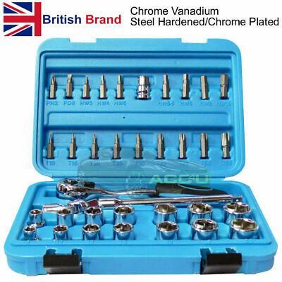 "36 Pcs Professional 3/8"" inch Drive CRV Bit & Socket Torx Ratchet Tool Set Case"