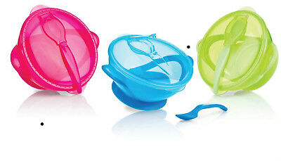 NEW Nuby Easy Go Suction Bowl & Spoon Baby Feeding