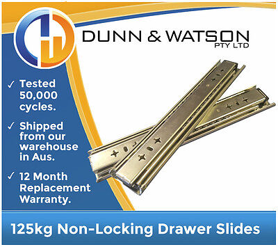 125kg Drawer Slides / Runners - Lengths 356mm to 1016mm 4wd, 4x4, Fridge