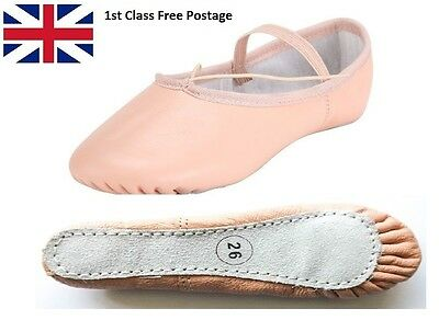 Ballet Dance Leather Full Sole Shoes Handmade with Pre Sewn Elastics