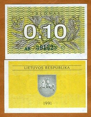 Lithuania, 0.10 Talonas, 1991, First EX-USSR, Pick 29a, UNC