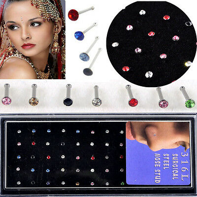 60pcs Wholesale Lots Body Jewelry Lots 316L Surgical Steel Rhinestone Nose Studs