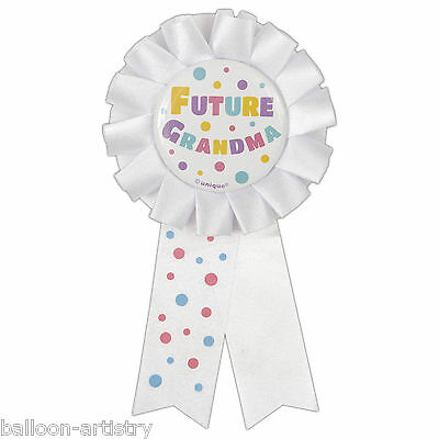 White Future Grandma New Baby Shower Party Award Ribbon Rosette Badge