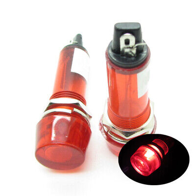 10 x Red AC220V 10mm Power Signal Indicator Light Plastic Neon Pilot Lamp XD10-3