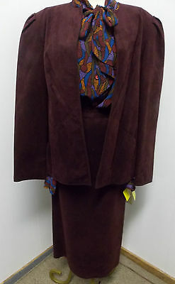 Sophy Curson Fine Clothing for Women 3 pc Suit Set Mulberry Ultra Suede  1980s