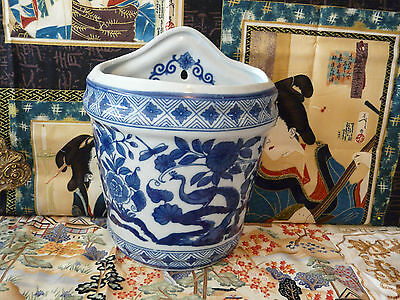 Gorgeous Flow Blue Victoria Ware Large wall Pocket