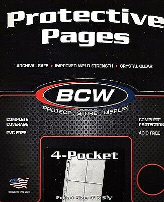 20 Ct BCW PRO4T 4 Pocket Pages - Coupon Organizer - 3 15/16  X 5 1/2  Pockets