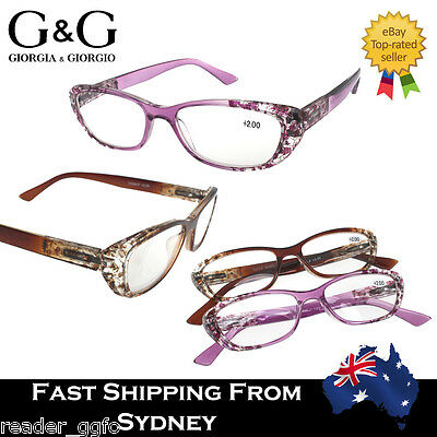 G&G Ladies CatEye Flower Print Magnifying Reading Glasses Spring Loaded 1.0~ 4.0