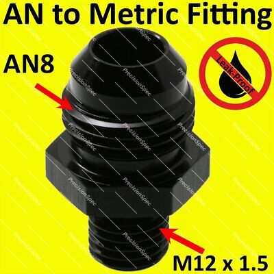 AN8 Aluminium Straight Male Flare to M12x1.5 Metric Fitting Adapter - Black