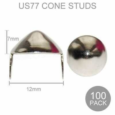 100 US77 Cone Studs Punk Gothic Jacket Belt Leather Oi Metal Spike Retro Craft