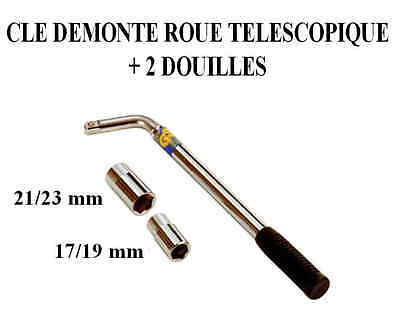 Cle demonte roue 17-19 mm avec embout 21-23 mm voiture 4x4 fourgon camion