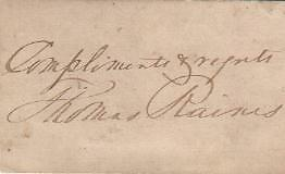 Thomas Raines Autographed Card Famed Rochester NY Politician D.24