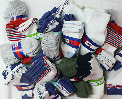 Wholesale Lot 12 Pair Infant Baby Boy Socks Size 0-6 Months Newborn Ankle Crew
