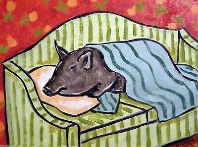 PIG sleeping bedroom signed art print 8x10 impressionism animals artist gift new