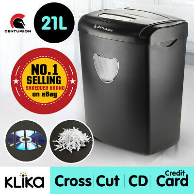 Centurion Office Combo Paper Shredder 21L Cross Cut 10 Sheets Cds Credit Cards