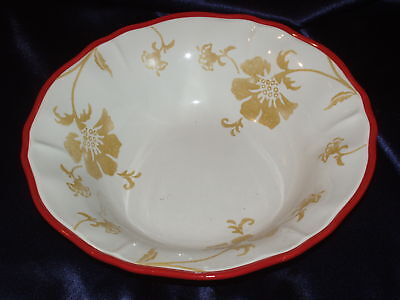 HOME SOMERSET TAN FLORAL SOUP/PASTA BOWL RED TRIM SCALLOPED