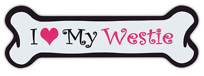 Pink Dog Bone Shaped Magnets: I Love My Westie (West Highland Terrier) | Cars