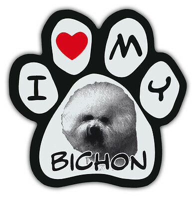 Picture Paws | Dog Paw Shaped Magnets: I LOVE MY BICHON (FRISE) | Car Magnet
