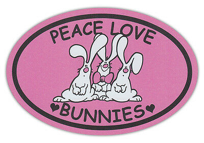 Oval Shaped Pet Magnets: PEACE, LOVE, BUNNIES (Rabbits) | Cars, Trucks