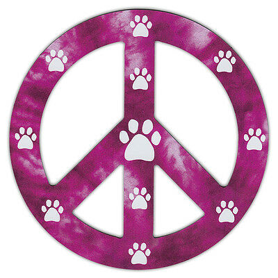 Peace Sign Shaped Magnets (See Through): Redish/Purple Design w/Paws