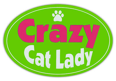 Oval Shaped Pet Magnets: CRAZY CAT LADY (Cats) | Cars, Trucks, Refrigerators