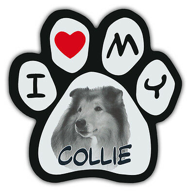 Picture Paws | Dog Paw Shaped Magnets: I LOVE MY COLLIE | Car Magnet