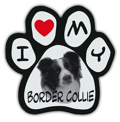 Picture Paws | Dog Paw Shaped Magnets: I LOVE MY BORDER COLLIE | Car Magnet
