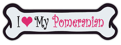 Pink Dog Bone Shaped Magnets: I Love My Pomeranian | Cars, Trucks and More!