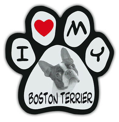 Picture Paws | Dog Paw Shaped Magnets: I LOVE MY BOSTON TERRIER | Car Magnet