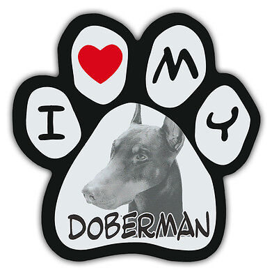 Picture Paws | Dog Paw Shaped Magnets: I LOVE MY DOBERMAN (PINSCHER) | Cars