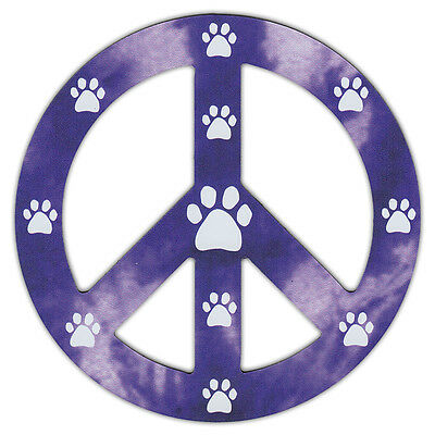 Peace Sign Shaped Magnets (See Through): Purple Design w/Paw Prints (Dogs, Cats)