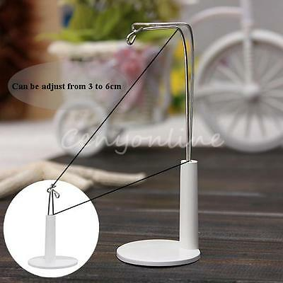 White Adjustable Metal Figure Doll Bear Display Stand Holder Hanger Plastic Base