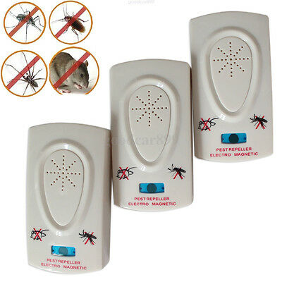3x Pest Repeller Electronic Ultrasonic Mouse Rat Mosquito Insect Rodent Control