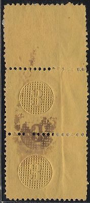 #79-E13f VAR. 3¢ GRILLED CIRCLE ON YELLOWISH WOVE EXPERIMENTAL CANCEL WL6140