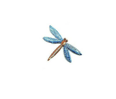 """Dragonfly - Blue/Brown Fully Embroidered 1 3/4""""W(4.5cm) Iron On Applique Patch"""