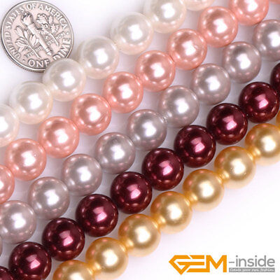"""10mm Shell MOP Pearl Gemstone Round Beads For Jewelry Making 15"""" Assorted Colors"""